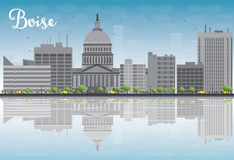 Boise Skyline with Grey Building, Blue Sky and reflections Royalty Free Stock Images