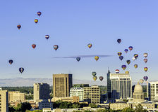 Boise skyline and many hot air balloons. Hot Air Balloons over the city of Bosie Idaho Royalty Free Stock Photo