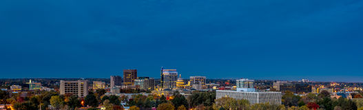 Boise Skyline at night with fall trees Royalty Free Stock Images