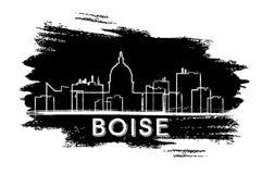 Boise Skyline Silhouette Abbozzo disegnato a mano Fotografia Stock Libera da Diritti