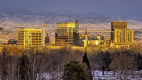 Boise skyline at sunset in winter Royalty Free Stock Photography