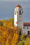 Boise Train Depot in autumn with American flag Royalty Free Stock Image