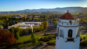 Boise train depot and city of Boise Idaho skyline. Close up of the train depot clocktower and city of Boise Royalty Free Stock Photo