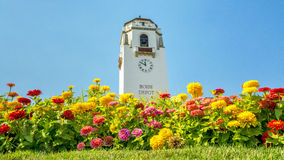 Boise train depot and colorful flowers Royalty Free Stock Images