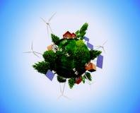 Boisez les maisons, les panneaux solaires et les turbines de vent Photographie stock libre de droits