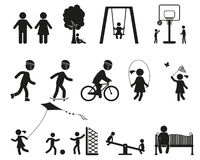 Boiska i dzieci ikony czarny prosty set Zdjęcie Stock