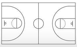 Boisko do koszykówki marża Kontur linie na boisko do koszykówki obrazy stock