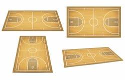 Boisko do koszykówki z drewnianą podłoga Widok od above i perspektywy, isometric widok ilustracja wektor