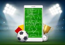Boisko do piłki nożnej na smartphone ekranie fotografia royalty free