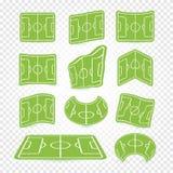 Boisko do piłki nożnej ocechowania logowie ustawiający, puste stadium ikony, zielonej trawy kolekcja, futbolowy gazon, sieci graf royalty ilustracja