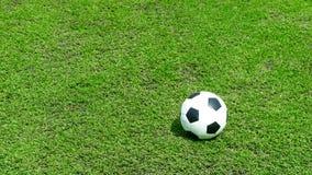 Boisko piłkarskie piłka na zielonej trawie, boisko do piłki nożnej fotografia stock