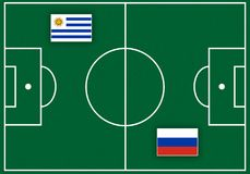 Boisko piłkarskie z flaga Fotografia Stock