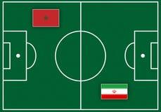 Boisko piłkarskie z flaga Zdjęcia Royalty Free