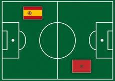 Boisko piłkarskie z flaga Obrazy Royalty Free