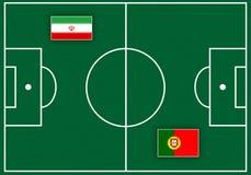 Boisko piłkarskie z flaga Zdjęcie Stock