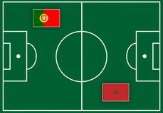 Boisko piłkarskie z flaga Obraz Stock