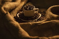 Boisson aromatique de grains de café excellente pendant le matin images libres de droits