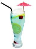 Boisson bleue de cocktail du Curaçao d'alcool avec le citron photographie stock libre de droits