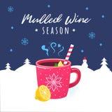 Boisson chaude d'hiver de vin chaud illustration libre de droits