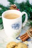 Boisson chaude de Noël avec de la cannelle Photos stock