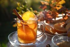 Boisson chaude de thé avec les tranches oranges et cannelle dans une tasse en verre dedans photos libres de droits