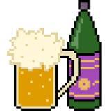Boisson de bière d'art de pixel de vecteur illustration libre de droits