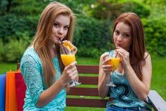 Boisson de deux amis régénérant, jus d'orange froid Photo stock
