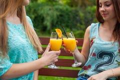 Boisson de deux amis régénérant, jus d'orange froid Images stock