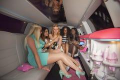 Boisson de filles dans la limousine Image libre de droits
