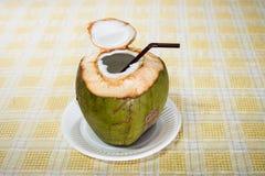 Boisson de l'eau de noix de coco Photo libre de droits