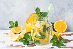Boisson de limonade de l'eau de seltz, de citron et de feuilles en bon état dans le pot sur le fond clair Copiez l'espace photos libres de droits