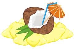 Boisson de noix de coco sur le sable illustration stock