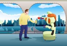 Boisson de portion de robot de Droid à l'homme sur le fond de pièce de station Image stock
