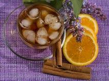 Boisson de rafraîchissement avec les tranches oranges image libre de droits