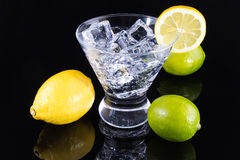 Boisson de scintillement dans un verre de martini avec des citrons et des chaux Image stock