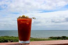 Boisson de tentation de mélange et d'olives de bloody mary en verre effrayant sur la balustrade par le bord de l'eau photo stock