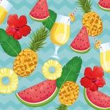 Boisson et fruits tropicaux illustration stock