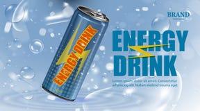 Boisson fraîche d'énergie en affiche de produit de boîte avec le fond de bulle et d'eau, de boissons de paquet et d'énergie illustration de vecteur