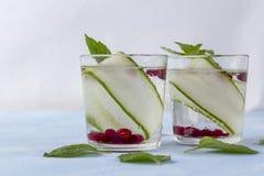 Boisson fraîche fraîche de detox avec le concombre et les baies, limonade dans un verre avec une menthe images libres de droits