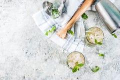 Boisson froide d'été, boisson de cocktail de julep en bon état, dos gris de pierre image stock