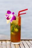 Boisson régénératrice avec la chaux, la menthe et l'ananas sur une plage tropicale Photographie stock libre de droits