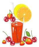 Boisson r?g?n?ratrice d?licieuse Dans un verre de jus de fruit naturel, une tranche d'orange, mandarine, citron, cerise, fraise V illustration libre de droits