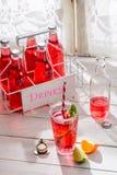 Boisson rouge savoureuse d'été dans la bouteille avec la feuille en bon état photo libre de droits