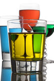 Boissons alcooliques colorées Photos libres de droits