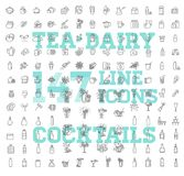 147 boissons amincissent l'ensemble d'icône de vecteur Images libres de droits