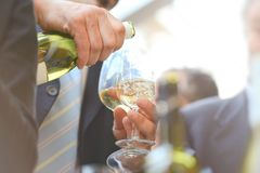 Boissons avec des verres de vin Image libre de droits
