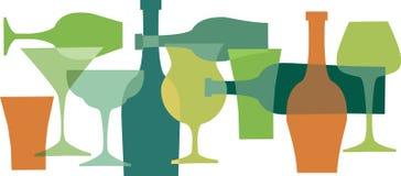Boissons, bottels et glaces dans colors-1 vert Photographie stock libre de droits