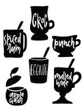 boissons chaudes d'alcool Illustration de différents tasses et verres avec le nom de l'intérieur de boissons illustration stock