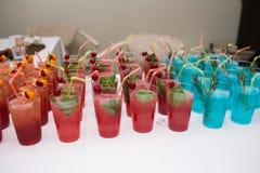 Boissons, cocktails colorés sur la partie Ensemble de cocktails d'alcool avec des fruits Photos libres de droits