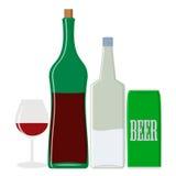 Boissons d'alcool : vodka et vin, bière Objets d'isolement Photos stock